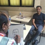 RT @shubhaankar99: My father doing a sketch of @bhogleharsha in Los Angeles. http://t.co/6i2KhLvi6X