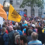 Solidarity from Dublin to #Greece. Chants of #OXI in Dublin city centre #dubw #IrelandstandswithGreece http://t.co/8ECvBlzBgO