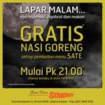 LAPAR MALAM.. GRATIS NASI GORENG setiap pembelian menu sate Mulai pukul 9pm di Sate Khas Senayan @kotakasablanka http://t.co/jKdHT8keBg