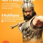 RT @WeAreHyderabad: Want to know more about Baahubali? Tweet your questions with #AskRana tomorrow @ 6:00 PM & @RanaDaggubati will answer h…