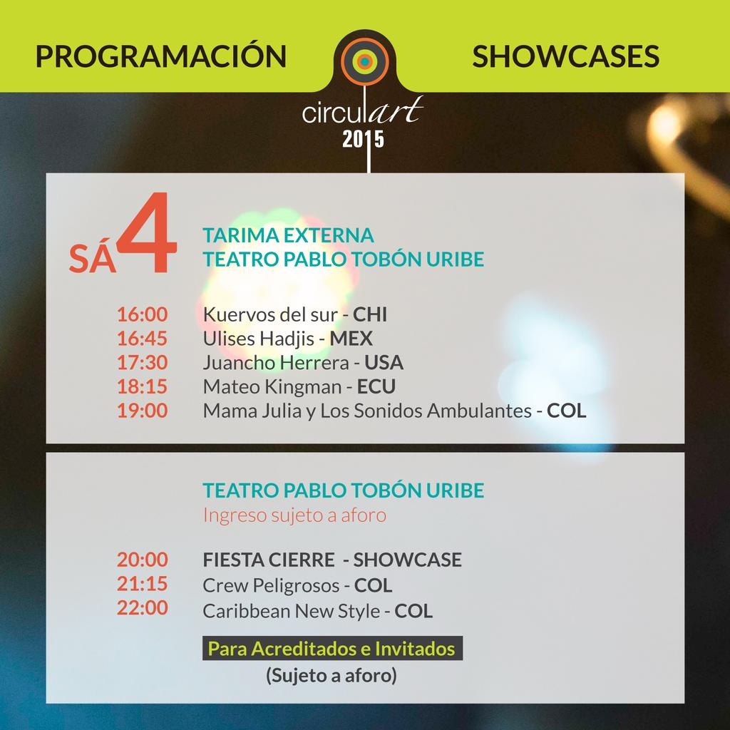¡Buenos días! Último día de #Circulart2015. Terminamos Rueda de Negocios y aquí está la programación de showcases. http://t.co/qk7XtnVjNP