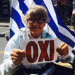 Rose Dugdale out in her wheelchair saying #oxi to austerity #greferendum #irelandstandswithgreece http://t.co/G675kPOSvk