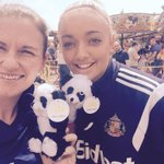 Great day at the fun day with @kellymcdougall we even won a teddy! #safc @SAFCLadies http://t.co/Dy6QsGmCYS