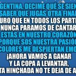 ARGENTINA, DECIME QUE SE SIENTE, SABER QUE JUGAR OTRA FINAL. ???? #VamosVamosArgentina ????⚪???? http://t.co/2YlVacRLTt