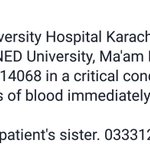8 bottles of Blood required at Agha Khan immediately. Please see pic for details http://t.co/paWhE4DM7X