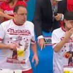 Matthew Stonie upset Joey Chestnut at the #NathansHotDog eating contest - watch here: http://t.co/fSwRxBR82L http://t.co/NhZVEEBxdF