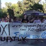 Protesters rally outside TV station over referendum coverage Watch here: http://t.co/p0Iegua3VX #Greferendum http://t.co/bGwWXzTV06