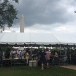 Washington Monument, security checkpoint, heavy rain clouds #July4th #outsideABC http://t.co/MWaoBgXRYl