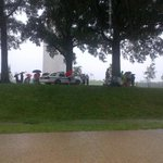 Heavy rains by the Monument. #4thofJuly People being told to seek shelter. Now theres thunder, lightning http://t.co/EPwwcCaaDK