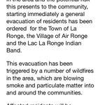 GENERAL EVACUATION for La Ronge, Air Ronge and the Lac La Ronge Indian Band. @GlobalSaskatoon #skfire #yxe #sask http://t.co/kA2p1bPSdU