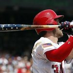 Bryce Harper uses patriotic themed bat, homers off Bumgarner to help #Nats beat Giants 9-3. http://t.co/hP5tWZ1VAu http://t.co/bKjLWsFKk6