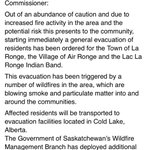 Evacuation ordered for La Ronge. This from Brad Walls Facebook page #yxe #ctvnews #skfire http://t.co/l3akmWOj1m