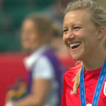 One very happy Laura Bassett... something we all wanted to see. Full story: http://t.co/sKT4BLaRHu #Lionesses http://t.co/6mr10rjXmW
