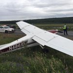 Update: The plane is on the side of the Seward Highway near Potter Marsh with no apparent major damage or injuries. http://t.co/zdBfddvJg0