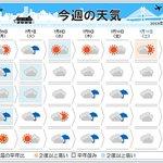 【今週の天気 梅雨空と蒸し暑さ】 http://t.co/V2KzrKxqWP 東北南部から九州にかけては梅雨空の続く所が多いでしょう。8日(水)頃からは台風からの暖かく湿った空気.. http://t.co/VGS2taIqME