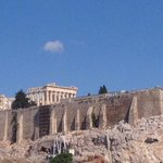 Greek flag flies proudly by Greeces ancient Acropolis as millions cast their vote. Dignity & Hope over Fear #OXI http://t.co/9yj874fYZy