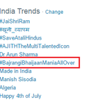 We are loving the #BajrangiBhaijaanManiaAllOver, just like you! Lets shout out once more & get it to #No1 http://t.co/X6H0fCNll6