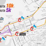 La ruta de la carrera 10K en color naranja y la caminata en color morado. #CorrePorTusVenas #PZO @LLOVIZNARUNNERS http://t.co/okA2ov4X4c