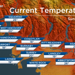 Look at the temperatures out in the Fraser Valley already! Today will be the hottest this week http://t.co/amS6OFoI4j