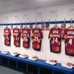 The famous Claret and Gold shirts are hung up in the changing room, ready for todays game. #SLHudHKR http://t.co/qYCYg2WpFq