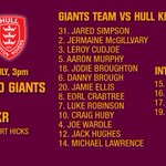 TEAM NEWS: Heres how Huddersfield Giants will line up for todays game against Hull KR. #SLHudHKR http://t.co/4HpItoiZCm