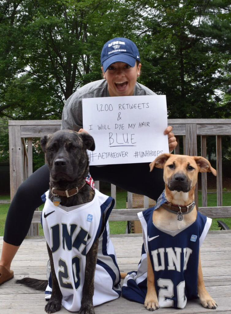Please help us @UNHHoops reach 1200 retweets and our coach will dye her hair blue! #AETakeover http://t.co/SmGqfChwED