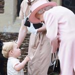 """RT RoyalCentral """"Prince George chats with The Queen at Princess Charlottes christening this afternoon. (Via Carol… http://t.co/9dOVHaI8Lm"""""""