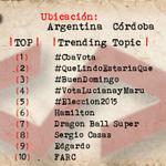 Argentina Córdoba 1 #CbaVota 2 #QueLindoEstariaQue 3 #BuenDomingo 4 #VotaLucianayMaru 5 #Eleccion2015 http://t.co/kTmTfZyOtl