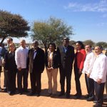 H.E. Dr Hage Geingob, H.E. Dr Sam Nujoma and First Lady Mrs Monica Geingos with Cuban Five at Etunda Farm today. http://t.co/4v8iYM6VbE