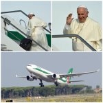 Papa ya está viajando a Ecuador. Está previsto su arribo a las 15:00. http://t.co/guDBvzMzc4 #FranciscoenEcuador http://t.co/EIppU4R4j2