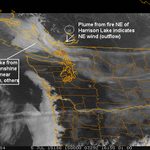 Smoke much worse in the City #YVR than further E. . Much of the Valley benefiting from outflow winds. http://t.co/o1dM1Xuzia