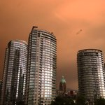 Heres a hazy smoke-filled #Vancouver sky shot from our night reporter @raffertybaker. Tweet us your photos! http://t.co/rOz4rgs6sD