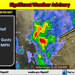 """1148am: Storms in Prescott area capable of 0.5"""" hail and 40 mph winds E of Hwy 89 toward Dewey/PrescottValley. #azwx http://t.co/POOh5cYL0Z"""