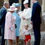 The Duke & Duchess & their children with The Queen & members of the Royal Family at Princess Charlottes christening http://t.co/nPfwOa4DA9