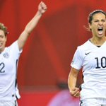 Carli Lloyd strikes again! She gives the USA a 1-0 lead & becomes first American to score in four straight Cup games. http://t.co/kYBgJ3Uxgg