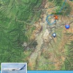 14h30: El vuelo AZ4000 que trae al Papa Francisco está por aterrizar en el aeropuerto Mariscal Sucre de #Quito. http://t.co/rZga1KObSp
