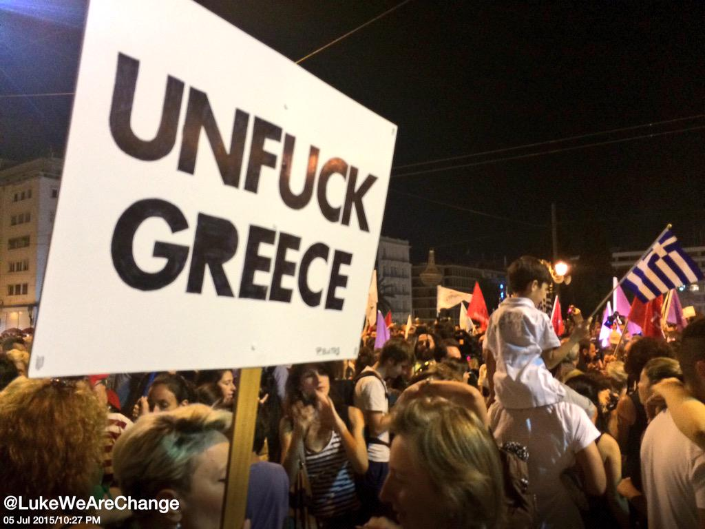 "The Greek people sent a simple message today ""we have nothing else left to lose"" #Grefenderum #OXI #Greece http://t.co/7K5N9quoQk"