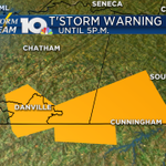 A Severe TStorm Warning is in effect for Halifax and SE Pittsylvania Counties until 5 for quarter size hail and wind http://t.co/IHHD5eaBqn