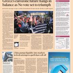 FT: Greece's eurozone future hangs in balance as No vote set to triumph #tomorrowspaperstoday #greekreferendum http://t.co/3ZupLagnCj