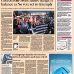 FINANCIAL TIMES FRONT PAGE: Greeces Eurozone future hangs in the balance as No vote set to triumph #skypapers http://t.co/leTkJfI5Ey