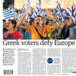 Mondays Guardian front page: Greek voters defy Europe #tomorrowspaperstoday #greekreferendum #BBCPapers http://t.co/7hoc4e1py3