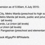 Class suspension as of 5AM, 6 July 2015 (Monday) #walangpasok #EgayPH http://t.co/yDmiJMLVac
