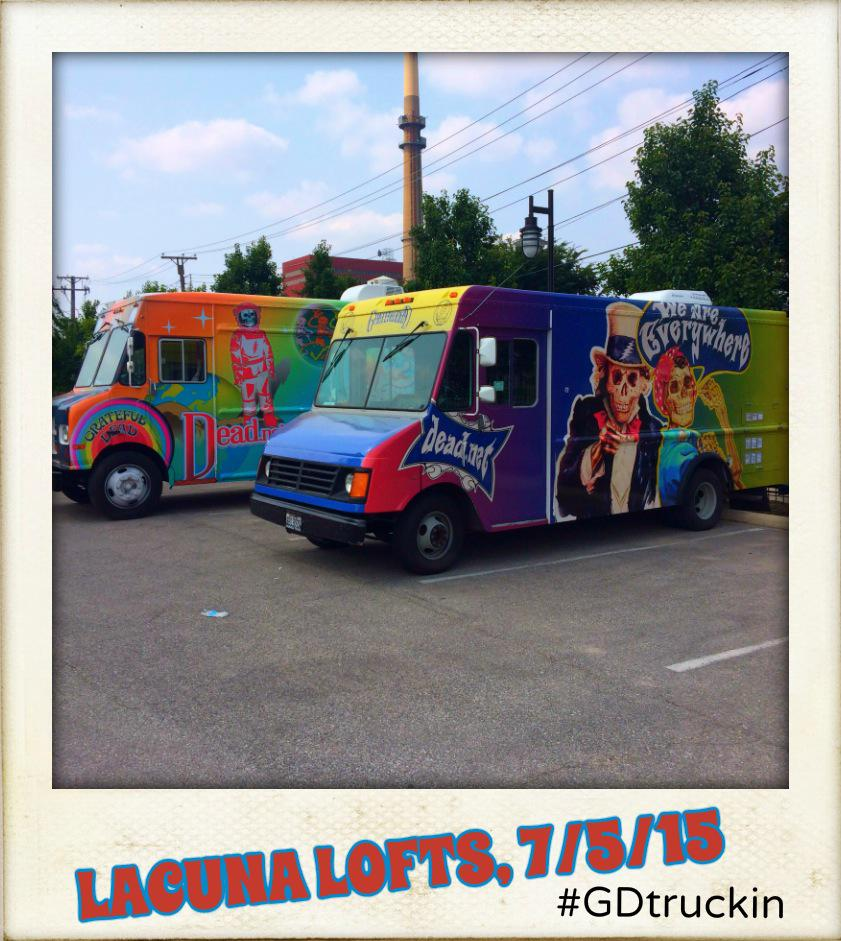 The Trucks will be @ Lacuna Lofts- 2150 S Canalport Ave. till 6:30pm CDT. Come by before the shows! #GDtruckin #GD50 http://t.co/Mb2QzEEcYS
