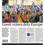 The Guardian front page, Monday 6 July 2015: Greek voters defy Europe http://t.co/IAD56Ys9v9
