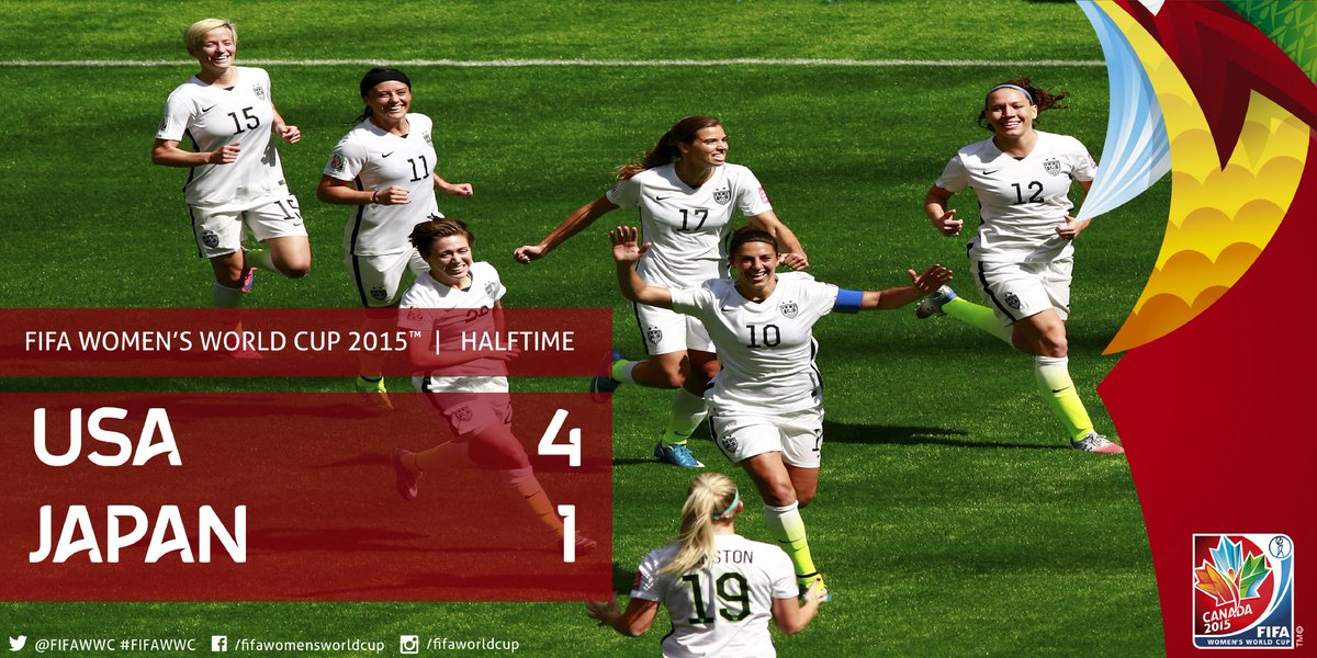 #USA score 4 fastest goals in #FIFAWWCFinal history. #JPN concede more goals than they have for entire tournament. http://t.co/8SudNNgpXG
