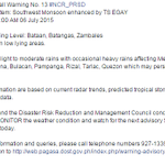 ADVISORY via @dost_pagasa | Heavy Rainfall Warning for NCR Issued at 8:00 AM July 6. http://t.co/Yx1Qg8Kyaz