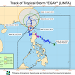 PAGASA, 11 am: #EgayPH slightly weakened, is expected to exit PAR by Thursday evening. http://t.co/EWF3sb63Pr http://t.co/Lsab5jH5QW