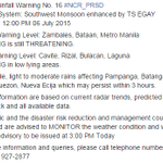 ADVISORY via @dost_pagasa | Heavy Rainfall Warning | SW Monsoon enhanced by TS EGAY Issued at 12 PM July 6, 2015. http://t.co/2elaHv2rdZ