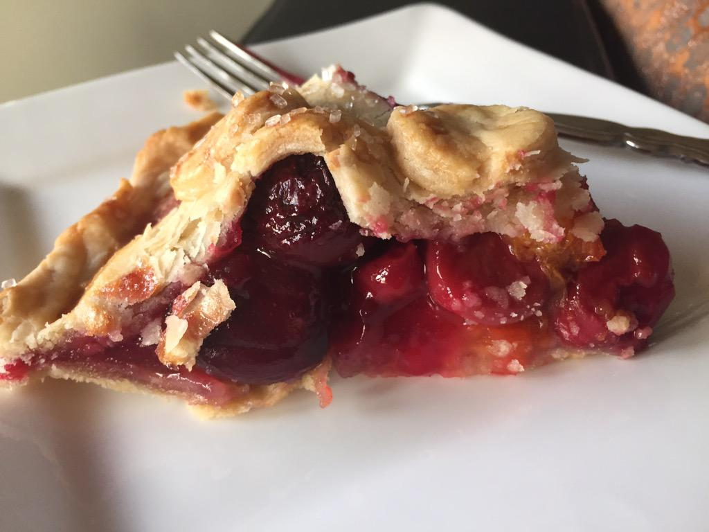 Stone fruit pie w almond paste rolled over bottom crust. Bing & tart cherries, apricot and apple. Almond crust.  Yum http://t.co/Usn30B3gjb