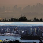 Todays view of Vancouver(top)Smoke from wild fires.Same view-bottom @VancityBuzz @yvrwx @NEWS1130Radio @HuffPostBC http://t.co/y8MugWb8dw